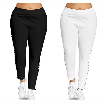 5f82c71af70 Plus Size XL-5XL Women Pants Lace Up Leggings With Grommet Active Trousers