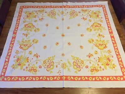 Vintage Belgium French Country Yellow & Orange Floral Tablecloth - 4 x 4.5 feet