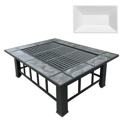 NEW Outdoor Fire Pit BBQ Table Grill Fireplace w/ Ice Tray