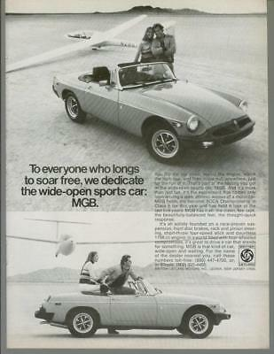 1976 MG MGB Roadster Sports Car Glider Soaring Sailplane Vintage Print Ad 1970s