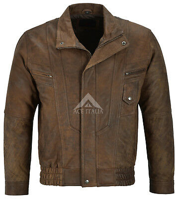 men s real leather jacket classic fit soft zip up blouson style brown nubuck 303