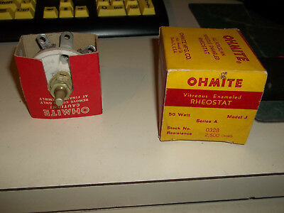 Ohmite All Porcelain Vitreous Enameled Rheostat 50 W Model J Series A 2500Ohms