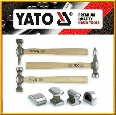 Yato Auto Body Fender Set 7pcs Tool Hammer and Dolly Repair Kit Case Hickory