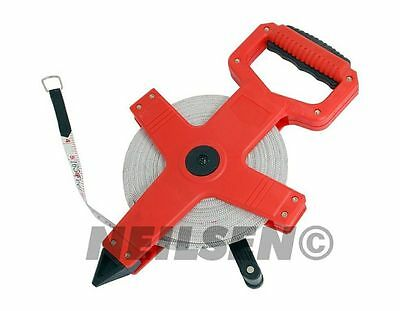 100m 330ft x 13mm Fibreglass Tape Measure Open Reel Long Surveyors 100 Meter