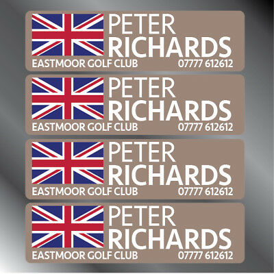 16 Personalised Golf Club Decal Labels 30x9mm Any Flag/Logo - Basic & Pro Packs