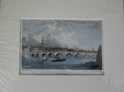 NEWCASTLE ORIGINAL 19th century HAND-COLOURED STEEL ENGRAVING NORTHUMBERLAND
