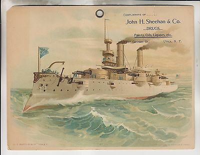 1908 Advertising Print - Battleship Iowa - John H. Sheehan & Co Drugs - Utica Ny