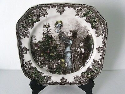 Johnson Brothers Friendly Village ANGEL ON THE TREE CHRISTMAS Square Salad Plate