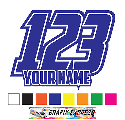 Custom Race Numbers and Name x3 Vinyl Stickers^Decals Motorbike Moto_cross Quad