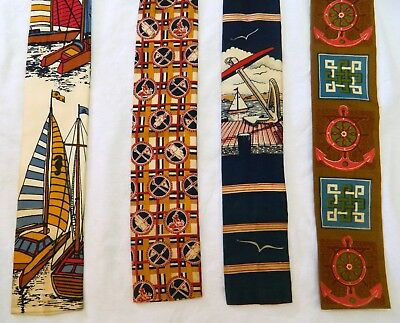 Lot of 4 Vintage ROOSTER Square End Skinny Cotton Neckties, 3 Nautical, 1 Golf