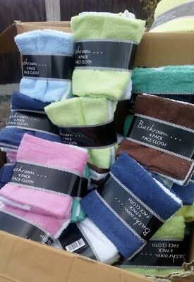 Packs of Face Cloths Flannels 100% Cotton cloth 12 inch x 12 inch Assorted cols