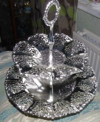 Lovely Vintage 2 Tier Filigree Silver Plated Cake Stand