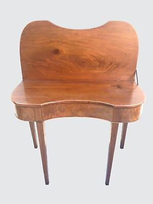 18Th Century Federal Concave Antique Rhode Island Game Table In Mahogany ~ Rare