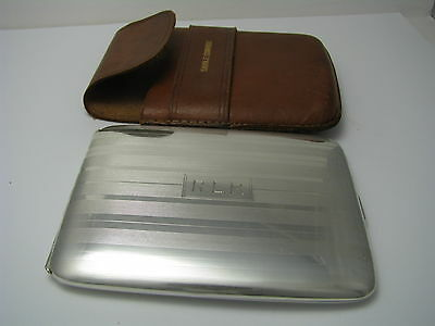 SOLID STERLING SILVER CIGARETTE CASE & LEATHER CASE by NAPIER USA ca1940s