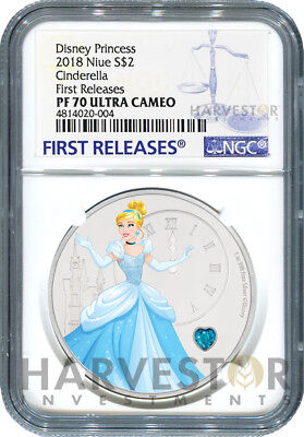 2018 Disney Princess With Gemstone - Cinderella - Ngc Pf70 First Releases W/ogp