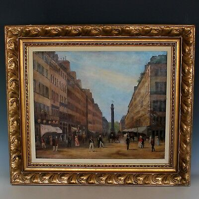 Oil on Canvas Painting View of the Place Vendome, Paris signed and dated