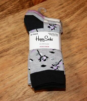 Happy Socks Kids Girls Crew Socks 3 Pairs Fits Shoe Sizes 2-6 Combed Cotton New