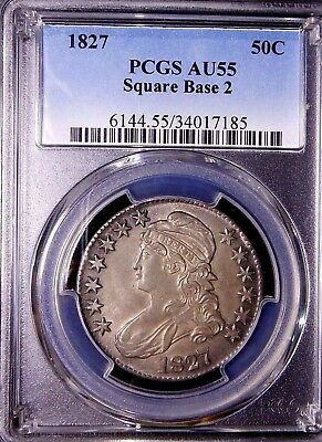 1827 50C Square Base 2 Capped Bust Half Dollar PCGS AU55 ~LOOKS EVEN HIGHER ~