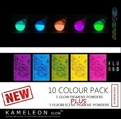 10 colour Multi pack - GLOW in the dark and Fluorescent pigment powder pack