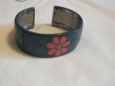 Collectible Cuff Bracelet Silver Tone Blue Pink Green Enamel Flex for Easy On