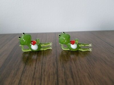 tiny glass frogs with red hearts two frogs miniature collectible green frog