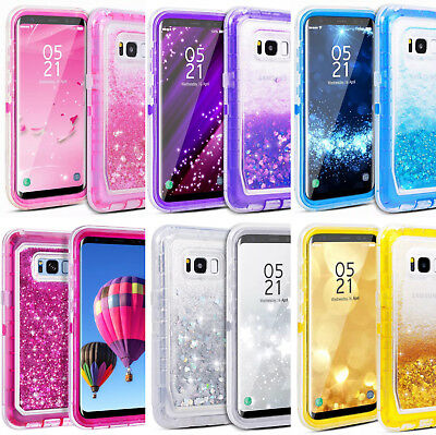 For Samsung Galaxy Liquid Glitter Sparkle Quicksand Clear Bling Waterfall Case