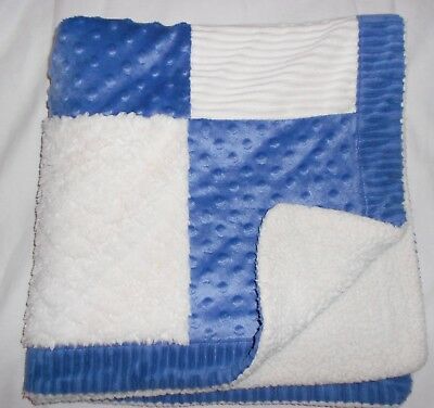 Kyle & Deena Baby Blanket Blue Ivory White Squares Sherpa Minky Dot Ridges