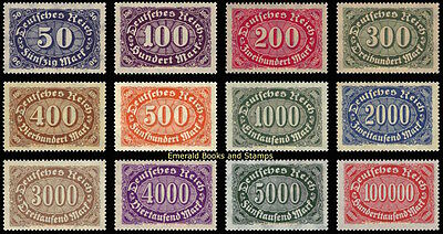 EBS Germany 1922-1923 Numeral in Oval Definitives (II) Michel 246-257 MNH**