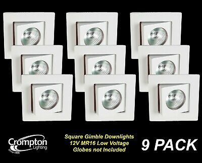 10 Pack x White SQUARE Gimble Downlight Fittings 12V MR16 Gimbal Tilt