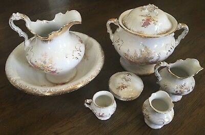 Vintage late 1800's W M Co. Semi Porcelain Chamber Pot Set 10 pieces STUNNING!