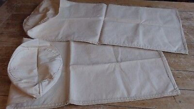 Pair of Vintage French Strong Cotton Canvas Rustic  Laundry Storage Sacks