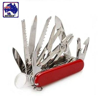 Multi Tool Army Knife 17 Function Portable Foldable Knife Classic Red OKNIF0517