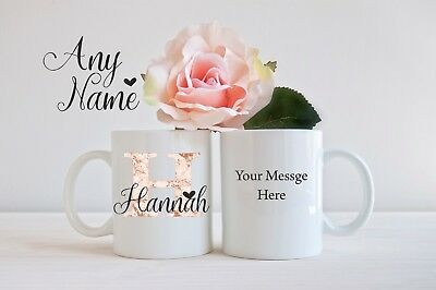 Personalised Mug Cup Inital Letter Name Thank you Gift Birthday Christmas girls