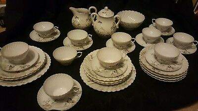 vintage Japanese eggshell painted fluted teacups tea set sugar bowl jug