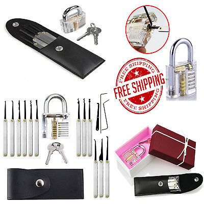 Lock Picking Set Case Crystal Padlock Beginner Practice Locksmith Kit 18pcs