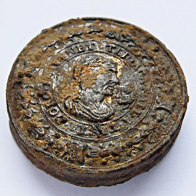 Theriac Venice Treacle Italy 17th Century Authentic Lead Pewter Cup Seal