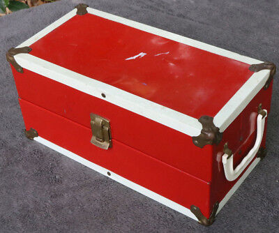 Dolls Vintage Metal Large Red STEAMER TRUNK WARDROBE CARRYING CASE Old