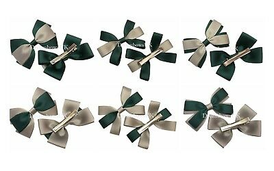 Bottle green and grey grosgrain ribbon school bows, clips or thin hair bobbles