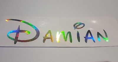 Silver Holographic Hologram Personalised Custom Name Vinyl sticker decal
