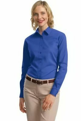 b7dd1e9c46ffa NEW Port Authority Women s Long Sleeve Button Down Oxford Shirt Blue Twill  Small