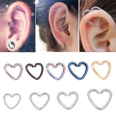 1Pc Surgical Steel Heart Ring Piercing Hoop Helix Cartilage Tragus Daith Earring