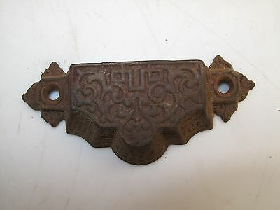 Antique Cast Iron Victorian Drawer Pull Handle Printer Cabinet Ornate 1880's A3