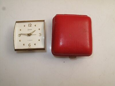 Vtg Swisa Swiss Travel Alarm  Clock Date 7 Jewels Red Leather Case Ticking