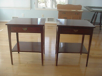 Pair Craftique Solid Mahogany Chippendale Style Side/End Table Drawer-Vintage