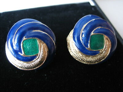 Vintage jewellery signed goldtone blue and green clip on earrings