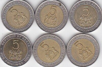 6 x  5 Shillings Kenya 1995  1997  Bi-metallic    LOOK