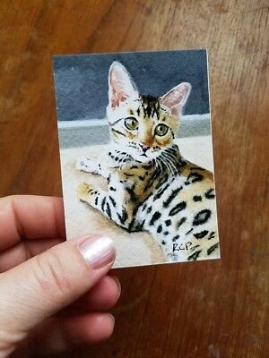ACEO Bengal Cat Art Print of painting Miniature Tabby Watercolor