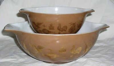 Lot of 2 Pyrex EARLY AMERICAN Pattern Cinderella Mixing Bowls (442, 444)