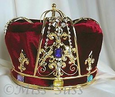 King's Pageant Crown Red/Burgundy Velvet & Gold-plated metal with faux jewels