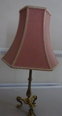 Antique Arts & Crafts Brass 3 Legged Table Lamp Pink Shade